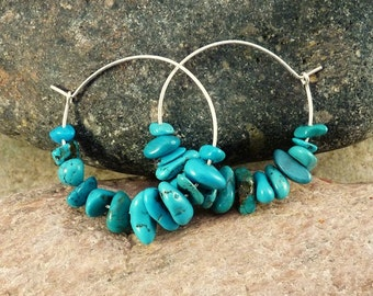 Sterling Silver Hoop Earrings with Turquoise Chip Beads.  Modern, Minimalist