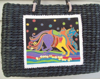 Vintage Laurel Burch Horses Woven Straw Basket Purse with Leather Handles