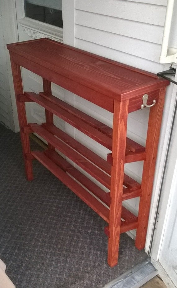 Compact Shoe Rack and Table with stain, trim, and polyeurethane
