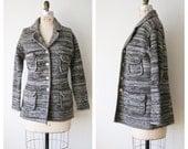 Women's Sweater Cardigan. 70s Grey Brown Wool Sweater Coat Jacket. Vintage Knit Jacket. Medium / Large.