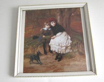 Vintage Framed Print,  Frightened Children in Woods