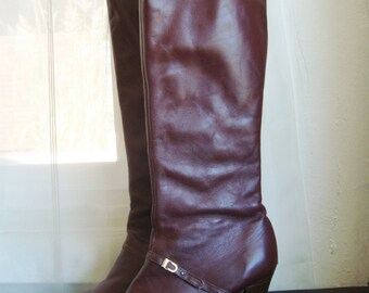 Vintage 70's  High Heeled Boots in Ox Blood Red Size 6 1/2 to 7