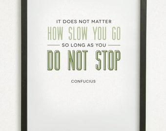 SALE // 8x10 Graphic Design Typography Print - Confucius Inspirational Quote