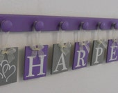 Purple and Gray - HARPER with Hearts - Baby Girl Personalized Wall Decorations Includes 8 Wooden Plaque Letters and Pegs in Lilac / Grey