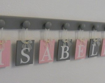 Pink and Gray Baby Girl Nursery Decor Wooden Wall Sign Set Includes 8 Wooden Pegs Painted Grey. Personalized Letters for ISABELLA