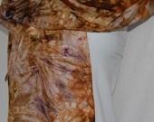 Hand Dyed Silk Scarf  Hand painted Scarf - shades of brown - Habotai Silk Batik women's fashion