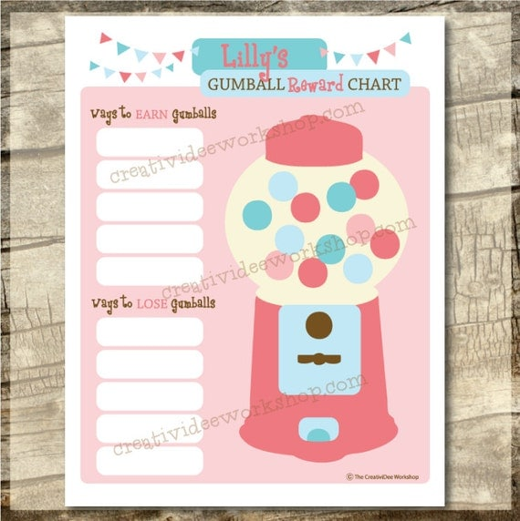 Printable Gumball Reward Chart