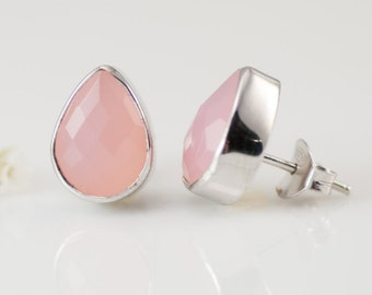 Pink Chalcedony Studs - Post Earrings - Gemstone Studs - October Birthstone Studs - Tear Drop Studs - Silver Studs