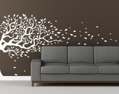 "Modern Wall Tree Decal blowing in the wind  flying leaves. Mural Sticker Removable vinyl Decal 77""x170""  wall sticker"
