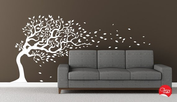 """Modern Wall Tree Decal blowing in the wind  flying leaves. Mural Sticker Removable vinyl Decal 77""""x170""""  wall sticker"""