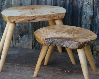 Personalized Wood Stool Custom Small Side Table Rustic