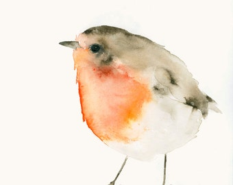 Bird Art Print from Original Watercolor Little Red Robin