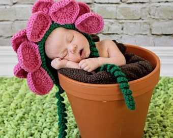 Crochet Flower Bonnet - Newborn Photo Prop Hat