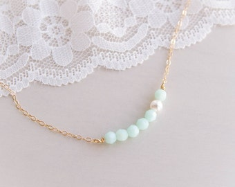Crème de Menthe Necklace . mint alabaster swarovski crystals and white pearl . 14k yellow or rose gold filled chain