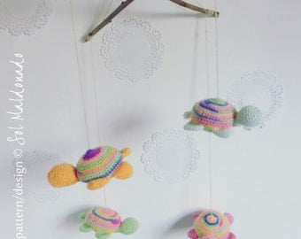 Tiny Turtles crochet pattern Mobile PDF - Toy, mobile, pincushion -  Instant DOWNLOAD