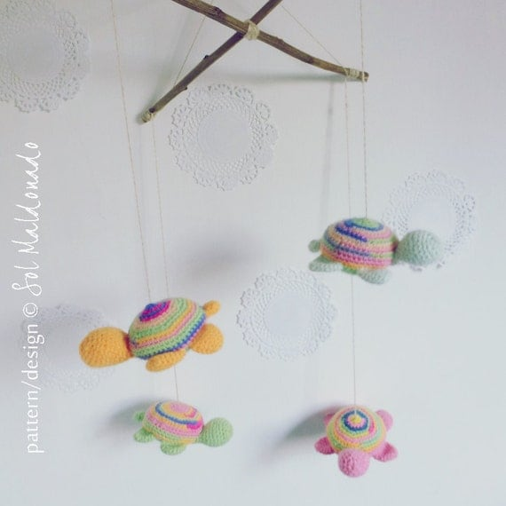 Amigurumi Plane Baby Mobile : Tiny Turtles crochet pattern Mobile PDF Toy mobile by bySol