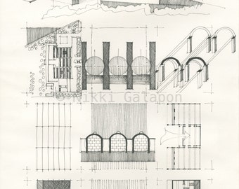 """Kimbell Art Museum Study: Archival print of original architectural pen drawing 11""""x16"""""""