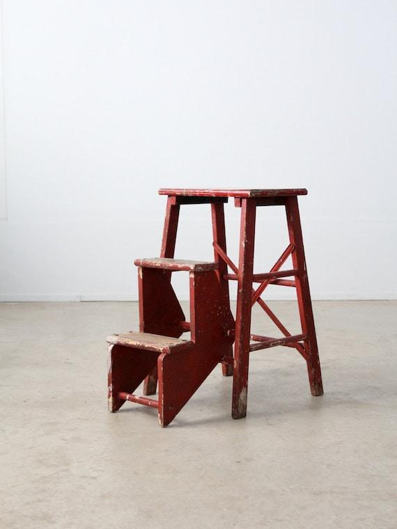 Vintage Step Stool Red Kitchen Ladder