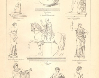 1894 Ancient Greek, Roman and Etruscan Sculpture Antique Engraving to Frame