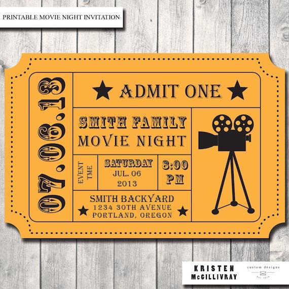 Movie Night Ticket Template Movie night party invitation- Movie Ticket ...