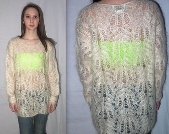 Tiffany  ...  Vintage 80s sheer sweater / 1980s crochet cut out mesh / slouchy oversize / fuzzy mohair / mini dress / boho grunge
