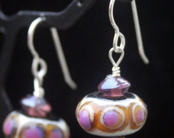 Unique Topaz with Ivory and Purple Accent Dots Lampworking Beads Sterling Silver Earrings