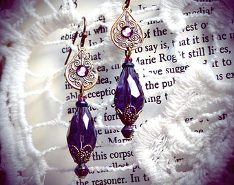 Purple Glass Drops, tribal fusion bellydance, costume earrings, gypsy fashion, boho chic, antique bronze, filigree, glass rhinestones, fairy