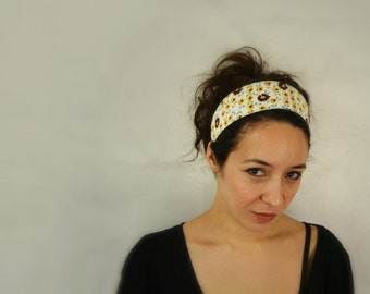 Reversible Fabric Headband / brown flowers and light blue