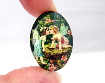SALE Glass Cabochons : 3 Green Garden Fairies Oval Glass Cabochons ... 18x25mm Jewelry Making Cabochons 44015
