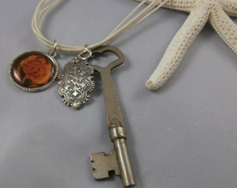 Vintage Key and Rose Charm Necklace