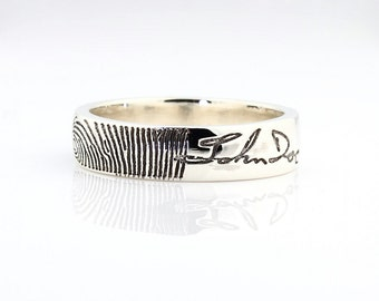 Fingerprint & Signature Ring - Sterling Silver Engraving Wedding Band, personal