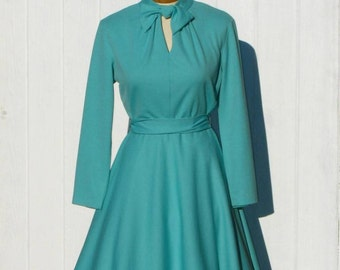 SALE 60s Aqua Blue Dress * Polyester Dress * Full Skirt Dress * 1960s Mod Dress * 1960s Dress