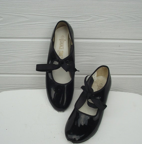 vintage womens tap shoes black patent leather tap shoes by