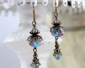 Blue Chintz Earrings with Swarovski Crystals