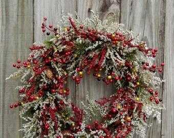 Holiday Wreath , Christmas Wreath , Winter Wreath , Wreaths ,  Berries Gone Wild , Winter Door Wreath
