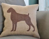 Boxer Dog Silhouette Burlap Pillow-Stenciled Dog Breed Pillow- Dog Lover Gift- Pillow Insert Included