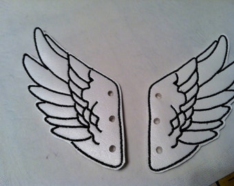 White Faux Leather with Black Stitching Percy Jackson Inspired Shoe Wings