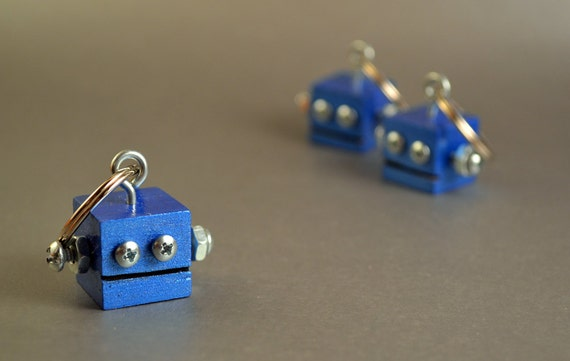 Robot Key Ring, Functional Art, Metallic Blue