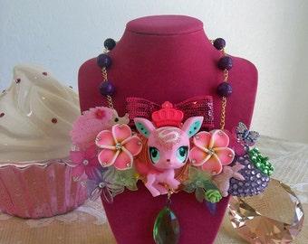 Littlest Pet Shop pink deer bib necklace