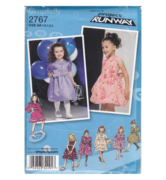 Little Girl's Pageant formal party flower girl dress pattern special event bridal party Project Runway Simplicity 2767 Size AA 1/2 1 2 3