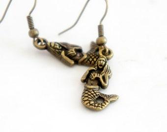 Mermaids - Vintage Style Antiqued Brass Dangle Earrings - C0042