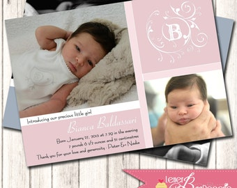 Custom Photo Birth Announcement for Baby Girl, Boy or Twins - DIY Printable Card - Choose Your Colors - New Babies, Baptism, Christening