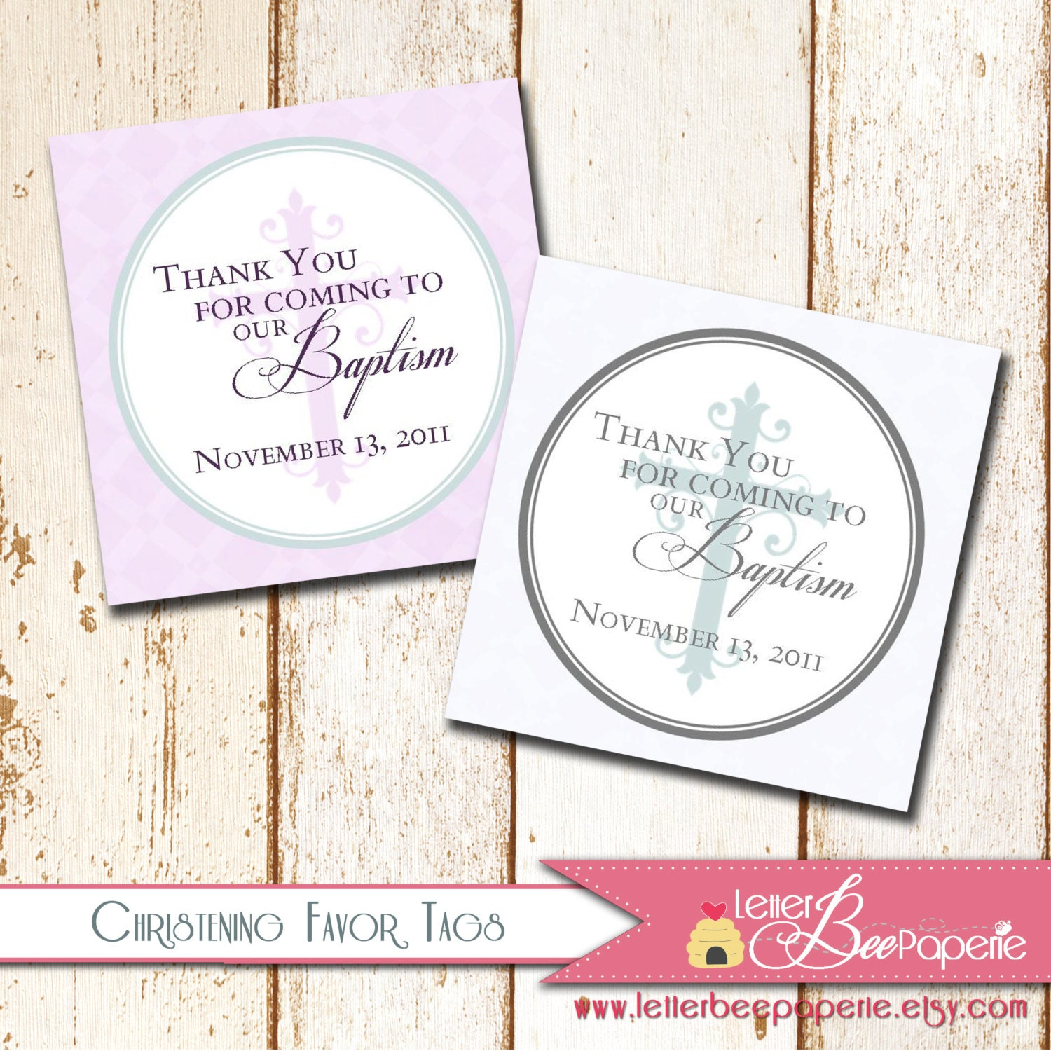 baptism christening thank you favor tags 2x2 or 3x3 size. Black Bedroom Furniture Sets. Home Design Ideas