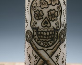Henna Sugar Skull and Scissors Pillar Candle, White, Fresh Linen Scent, great for hairdressers and crafters