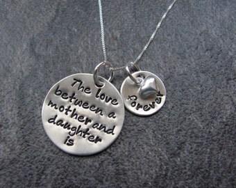 Mother Daughter Love Handstamped Necklace