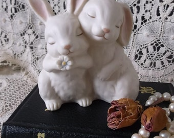 Vintage Love bunny figurine, homoco, He loves me 1990, wedding cake topper