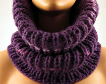 Cowl Scarf  Neck Warmer Hand Knitted Purple