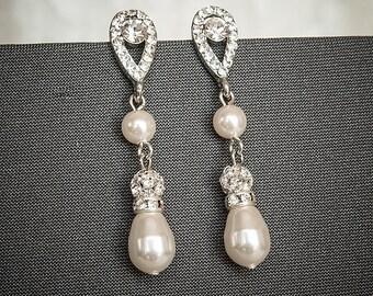 Bridal Earrings, Wedding Crystal Earrings, Swarovski Pearl and Rhinestone Bridal Earrings, Teardrop Dangle Earrings, Wedding Jewelry, MARTHA
