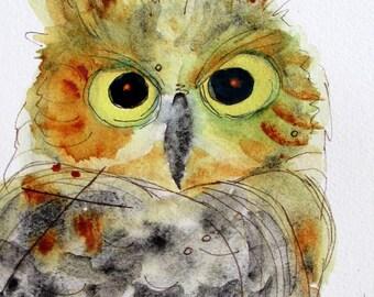 Large Archival Great Horned Owl Print, Owl Watercolor Print, Original Owl Art, Nature, 12 x 16 Owl Art