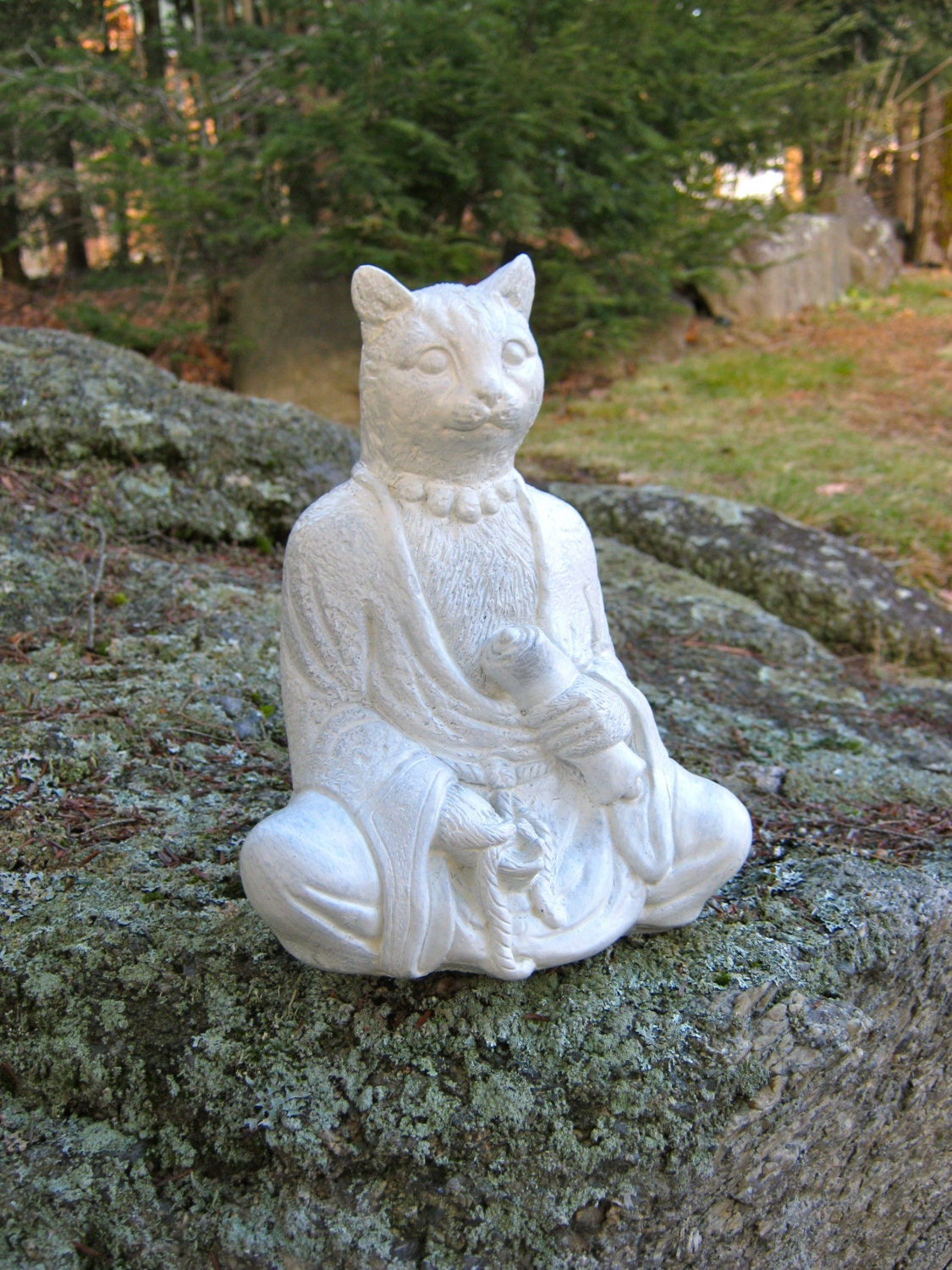 Buddha Cat With Scroll 9 Concrete Feline Statue Cement